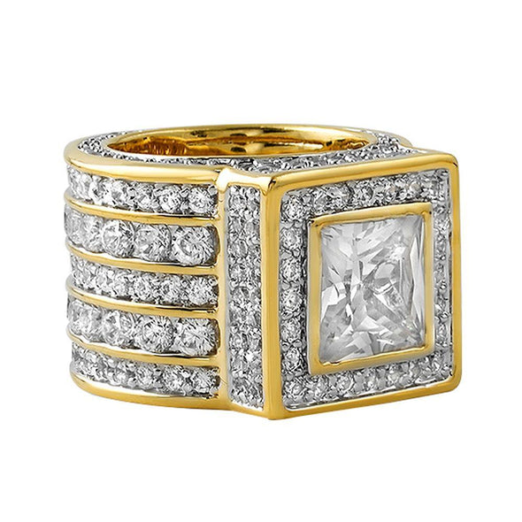 Gold .925 Silver Square President CZ Bling Ring (7)