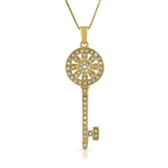 Womens Gold Sunflower Key CZ .925 Sterling Silver Pendant