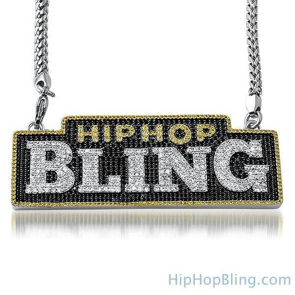 HipHopBling Logo Micro Pave CZ Pendant & Chain (Pendant with 316L Franco Chain)