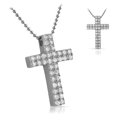 Double CZ Diamond Bling Bling Cross 316L