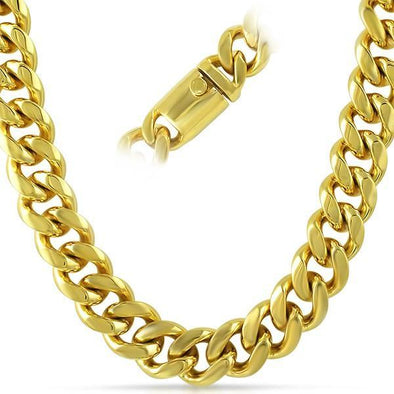 IP Gold Miami Cuban 316L Chain 15MM Box Clasp