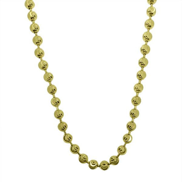Gold Moon Cut Chain 3MM .925 Sterling Silver
