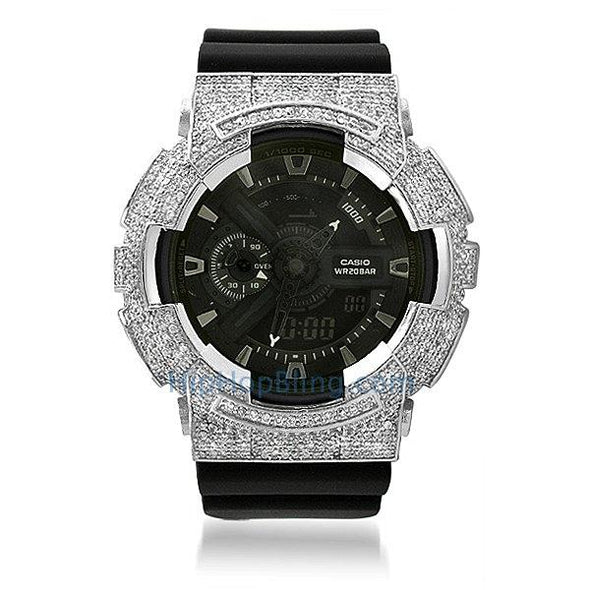 Custom Rhodium CZ Casio G Shock Watch GA100
