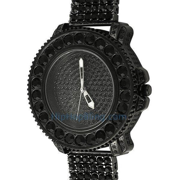 Big Rocks Black Bling Bling Watch & 6 Row Band