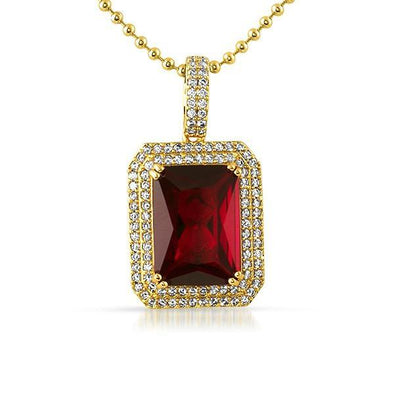 .925 Silver Double Iced Out Lab Ruby Red Gem Pendant