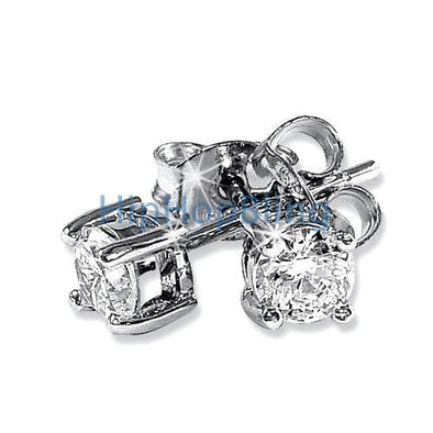 4mm Round Signity CZ Sterling Silver Earrings