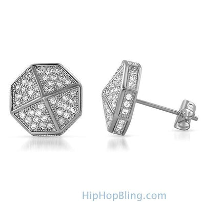 3D Pointed Octagon Rhodium CZ Hip Hop Earrings