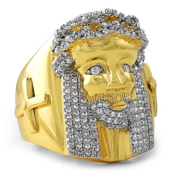Iced Out Gold Jesus Ring with Cross