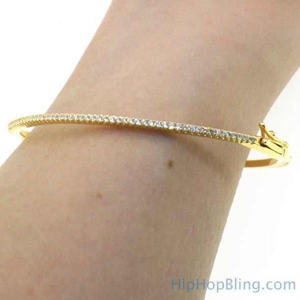 Gold Thin Classic Micro Pave Bangle .925 Silver