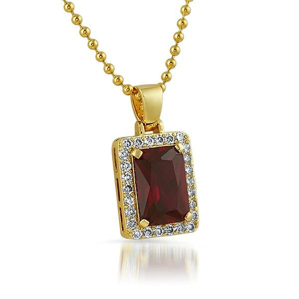 Lab Ruby Rick Ross Style Block Gold Hip Hop Pendant
