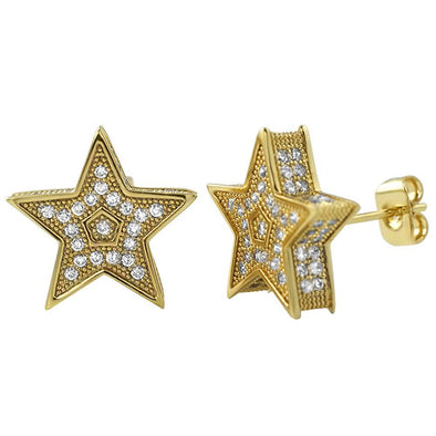 3D Star Jumbo Gold Bling Bling Earrings