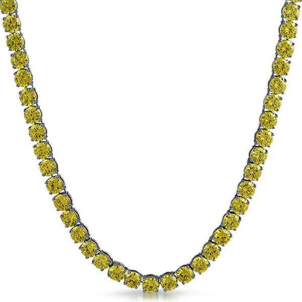 Canary Yellow 6MM CZ Stainless Steel Tennis Chain (20 in)
