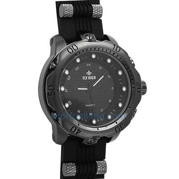 All Black Rubber Fashion Mens Watch