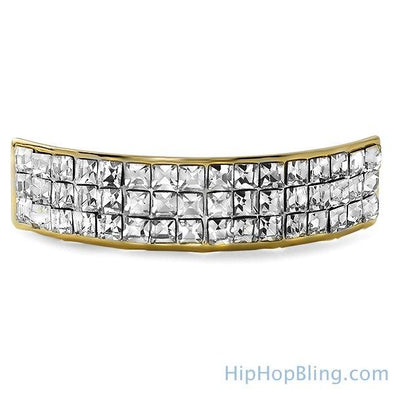 Gold Princess Cut Bling Bling Custom Grillz Top