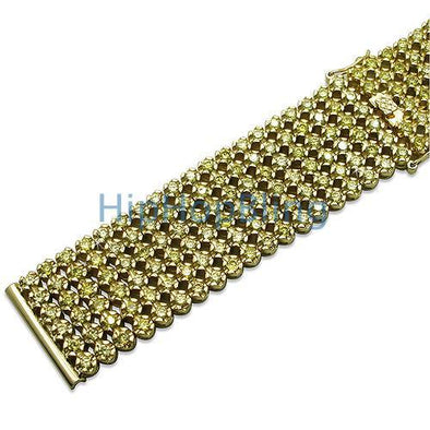Iced Out Watch Strap Custom Lemonade CZ 6 Rows