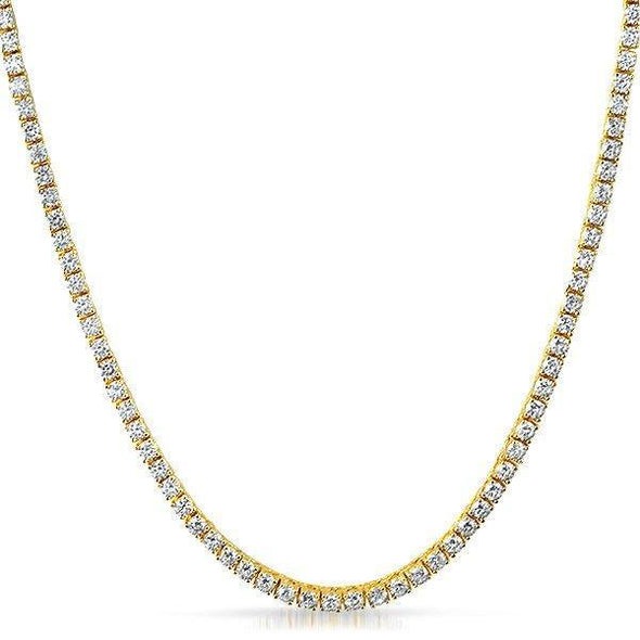 .925 Silver 3MM CZ Bling Bling Tennis Chain Gold