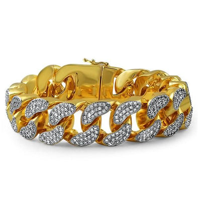 22MM Thick Bling Bling CZ Cuban Gold Bracelet