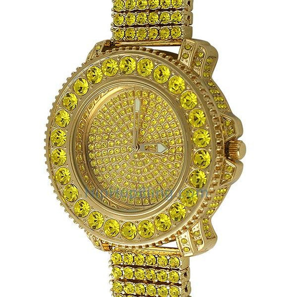 Lemonade Big Rocks Iced Out Watch & 6 Row Band