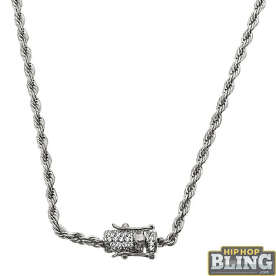 CZ Diamond Lock 3MM Steel Rope Chain Bling