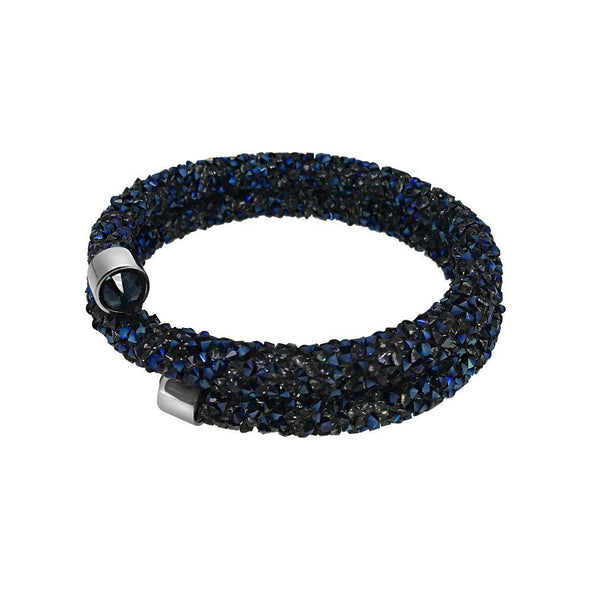 Double Wrap Blue Crystals Bling Bracelet