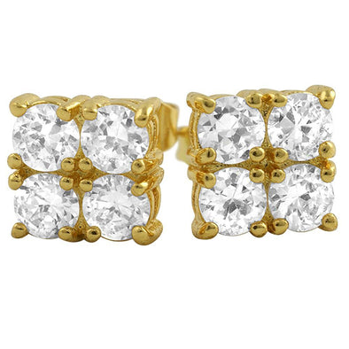 4 Stone Box Gold CZ Diamond Bling Bling Earrings