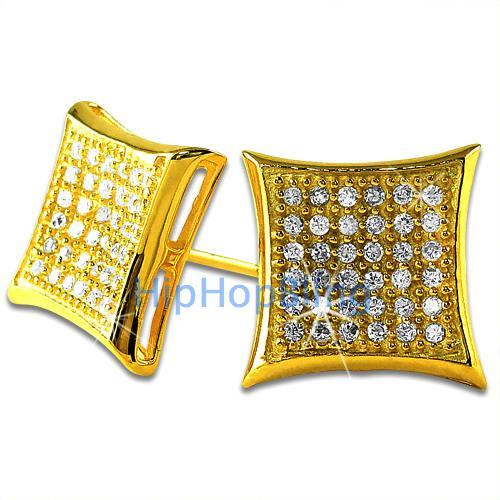 Large Kite Gold Vermeil CZ Micro Pave Bling Bling Earrings .925 Silver
