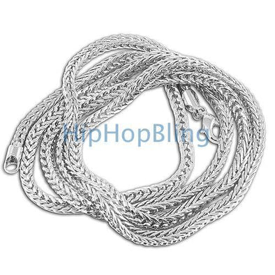 4mm Foxtail Franco Rhodium Hip Hop Chain