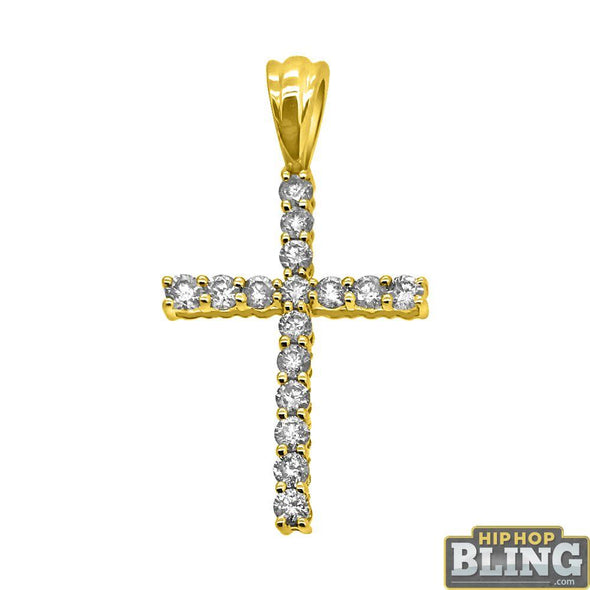 1.00cttw Diamond Cross 10K Yellow Gold Bling Bling