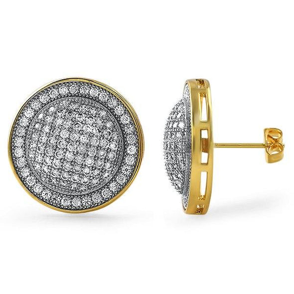 Gold XL Domed CZ Bling Bling Earrings