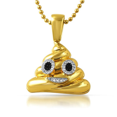 Emoji Poop Face CZ Gold Bling Bling Pendant (Free 36 Inch Bead Chain)