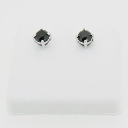 1.50cttw Genuine Black Diamond Stud Earrings