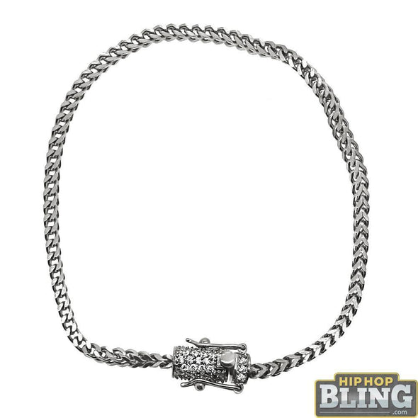 CZ Diamond Lock 2.5MM Stainless Steel Franco Bracelet
