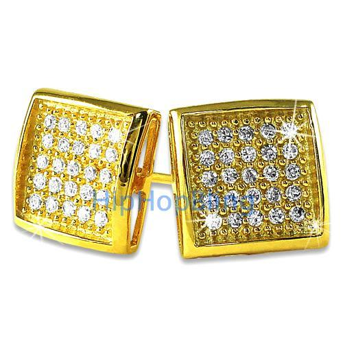 Deep Box Medium Gold Vermeil CZ Micropave Earrings .925 Silver
