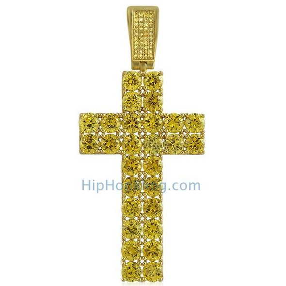 Double Diamond CZ Canary Gold Bling Bling Cross