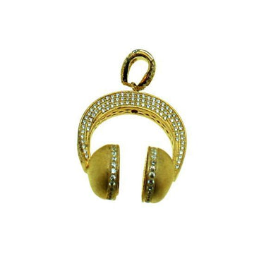 Gold Headphones Hip Hop Micro Pave 3D Pendant .925 Silver (Free 36 Inch Bead Chain)