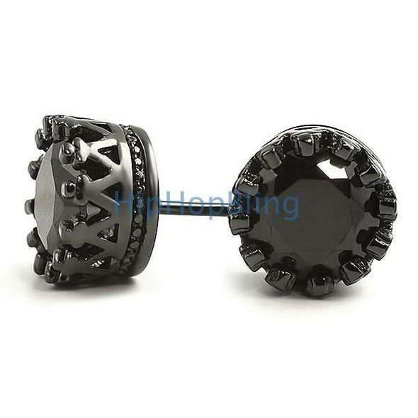 Black Crown Round Cut CZ Bling Bling Earrings