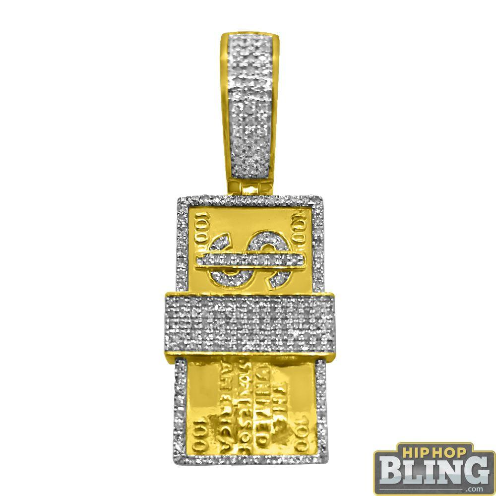 10K Gold $100 Bill Stack .39cttw Diamond Pendant