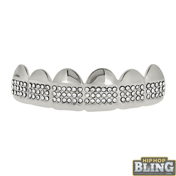 Bling Bling Grillz Silver Teeth Top Triple Row