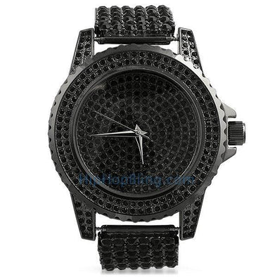 "Black All Bling Bling Custom Watch Iced Out Band (8"")"