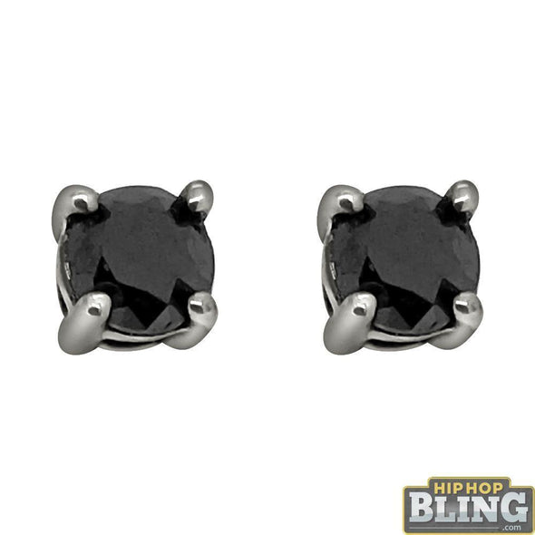 .75 Carat Black Diamond Stud Earrings .925