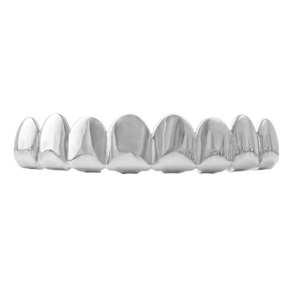 8 Tooth Hip Hop Grillz Rhodium Top