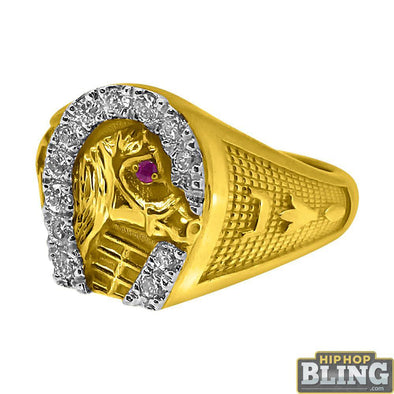 Horseshoe 10K Yellow Gold CZ Mens Bling Ring