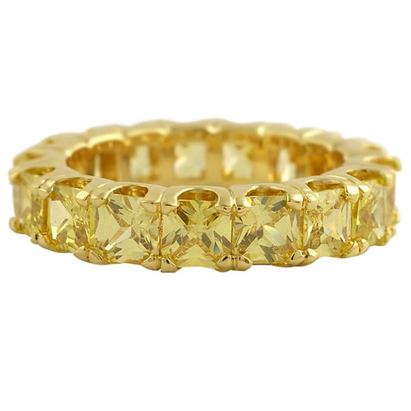 Canary Princess Cut CZ Eternity Gold Bling Bling Ring