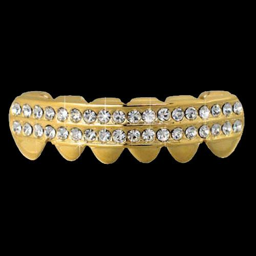 Cross Grillz Silver Tone Top /& Bottom Teeth Hip Hop Crosses Iced-Out Grills Set