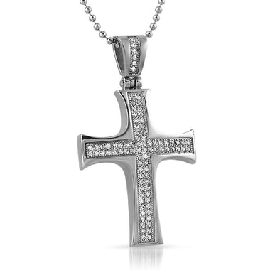 Convex CZ Micro Pave Stainless Steel Cross Mini (Options)