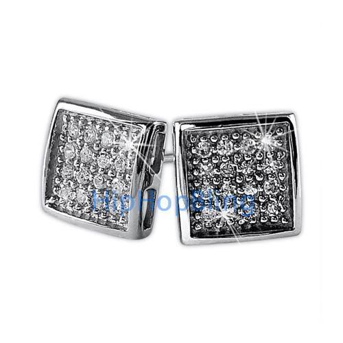 Deep Box CZ 32 Stones Bling Micro Pave Earrings .925 Silver