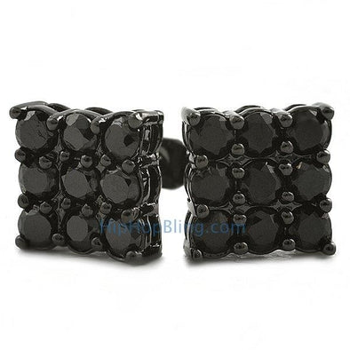 9 Stone Box Black CZ Bling Bling Earrings
