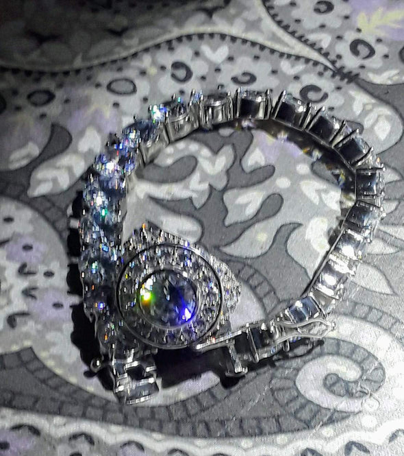 Custom Centerstone Rhodium CZ Bling Bling Ring