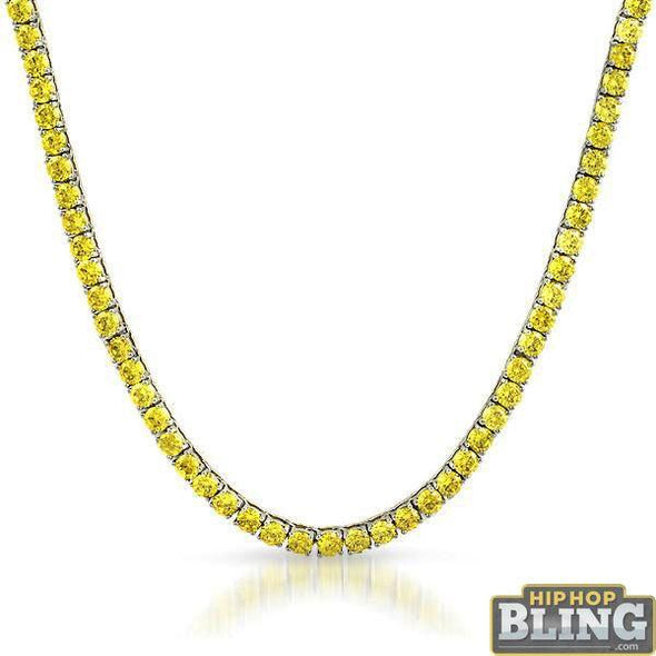 Canary Yellow 4MM CZ Stainless Steel Tennis Chain