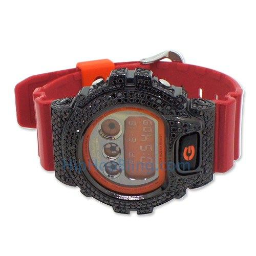 Black Iced Out G Shock Red Watch DW6900